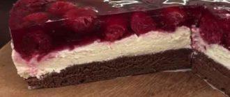 торт с вишней творожный
